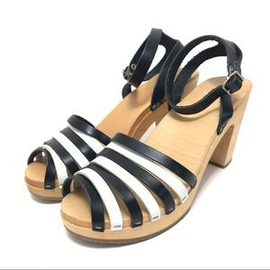 Swedish Hasbeens Striped Ankle Strap Heels